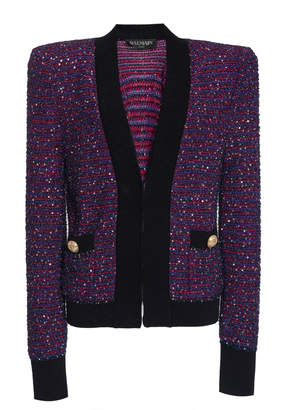 Balmain Sequin Stripe Tweed Crochet-Knit Jacket