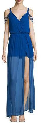 Ella Moss The Goddess Sheer-Hem Silk Maxi Dress, Royal $248 thestylecure.com