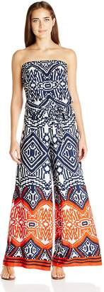 MSK Women's Challi Border Printed Wide Leg Jumpsuit