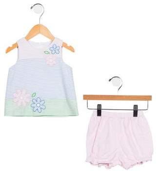 Florence Eiseman Girls' Embroidered Striped Shirt Set