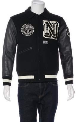Neighborhood Leather-Trimmed Wool Stadium Jacket