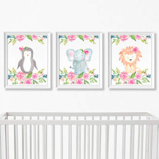 Betty Bramble Animal Safari Nursery Prints With Flowers