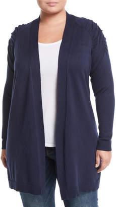 Verve Shirred-Shoulder Raglan Duster Cardigan, Plus Size