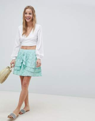 Asos DESIGN mini skater skirt in heart broderie with frills
