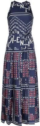 Valentino chevron and puzzle print twill silk dress