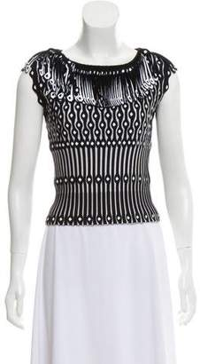 Alaia Fringe-Trimmed Knit Top w/ Tags