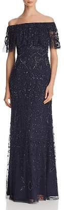 Adrianna Papell Off-the-Shoulder Embellished Gown