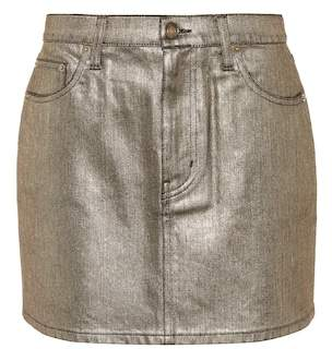 Saint Laurent Coated denim miniskirt