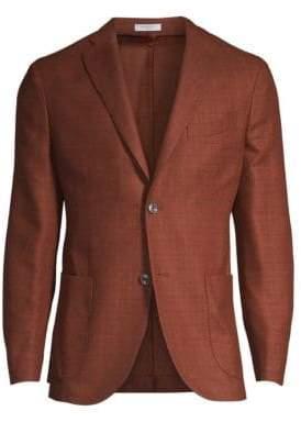 Boglioli Men's Rustic Wool-Blend Boucle Jacket - Rust - Size 46 (36) R