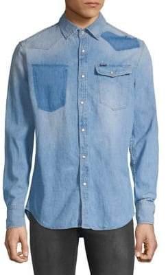 G Star Distressed Denim Button-Down Shirt