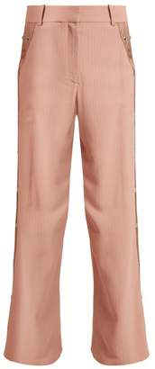 BEIGE Sies Marjan - Willow Wide Leg Pinstriped Cady Trousers - Womens Multi
