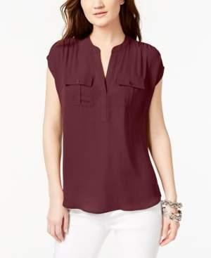 INC International Concepts I.n.c. Split Neck Utility Shirt, Created for Macy's