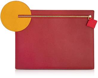 Roksanda Cherry and Honey Leather Alpin Clutch