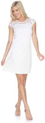 Women's White Mark Pelagia Lace-Yoke Sheath Dress
