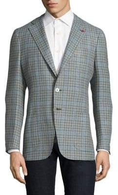 Isaia Slim-Fit Gingham Wool& Cotton Sportcoat