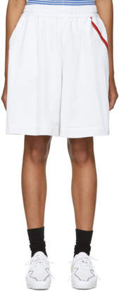 Facetasm White Athletic Striped Shorts