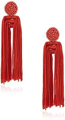 Panacea Women's Red Nylon Tassel Drop Earrings