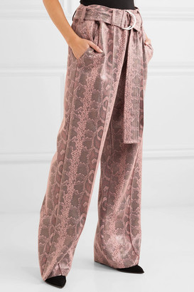 Stand Studio - Alaina Belted Snake-effect Coated Vegan Leather Wide-leg Pants - Pink
