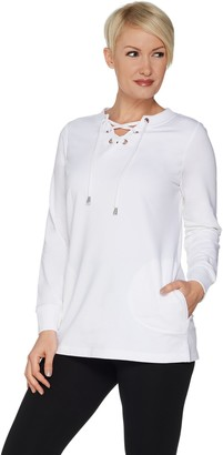 Denim & Co. Active Long Sleeve Crew Neck Top w/ Lace Up Detail
