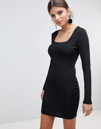 boohoo Square Neck Ribbed Bodycon Dress