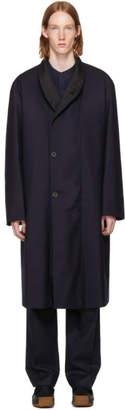 Lemaire Navy Wool Kaftan Coat