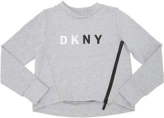 DKNY Logo Printed Cotton Interlock Sweatshirt