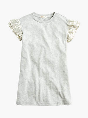 J.Crew crewcuts by Girls' Camilla Ruffle Sleeve T-Shirt Dress, Heather Dusk