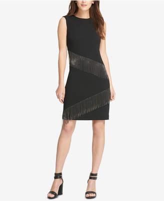 DKNY Metal Fringe Sheath Dress