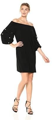 MSK Women's V-Neck Bell Dress Sleeve Embroidery Details