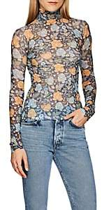 Acne Studios Women's Sheer Floral Jersey Turtleneck Top