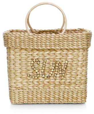 Poolside The Lori Crystal-Embellished Sun Straw Tote