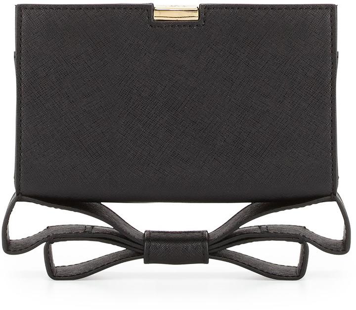 Z Spoke Zac Posen Milla Small Frame Saffiano Bow Clutch Bag, Black