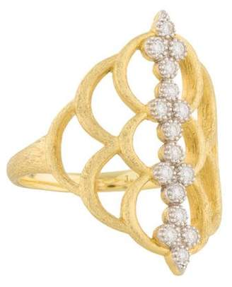 Jude Frances 18K Diamond Moroccan Quad Open Crescent Ring