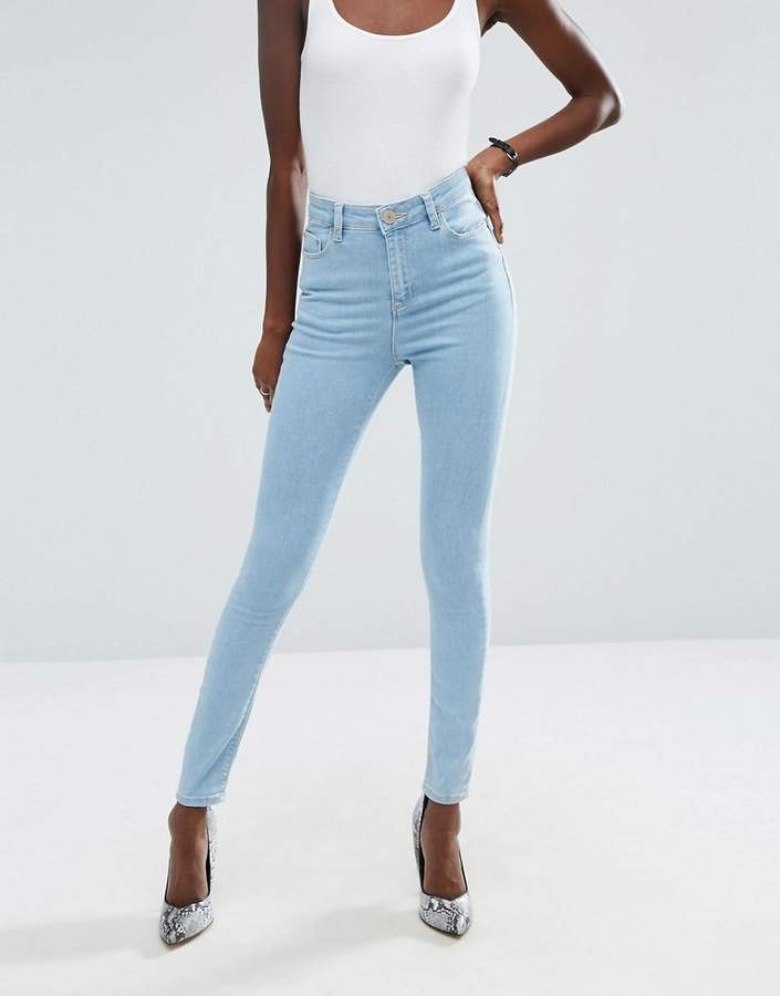 ASOS Ridley High Waist Skinny Jeans in Freya Light Stonewash Blue