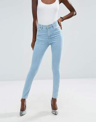 ASOS Ridley High Waist Skinny Jeans in Freya Light Stonewash Blue $43 thestylecure.com