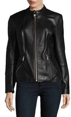 Karl Lagerfeld Paris Mandarin Leather Motorcycle Jacket