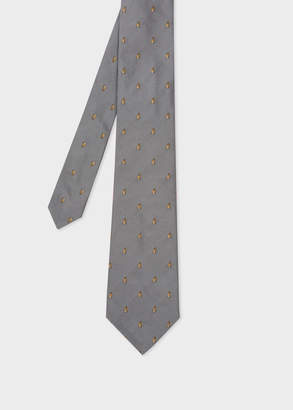 Paul Smith Men's Grey Embroidered Rabbit Motif Silk Tie