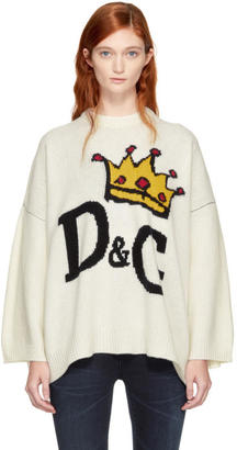 Dolce and Gabbana White Crowned Logo Sweater