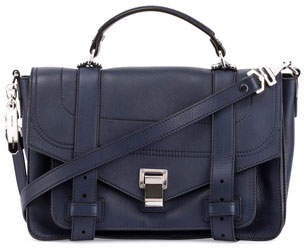 Proenza Schouler PS1+ Medium Leather Satchel Bag, Indigo