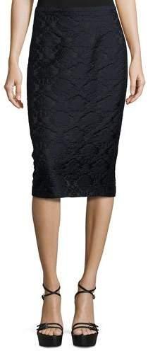 Michael Kors Damask Jacquard Pencil Skirt, Black/Navy