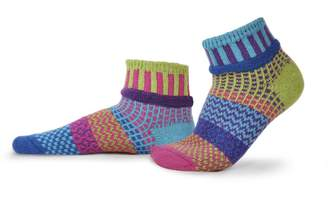 Solmate Socks Mismatched Ankle Socks for Women or For Men, Made in USA with Recycled Cotton Yarns; Small