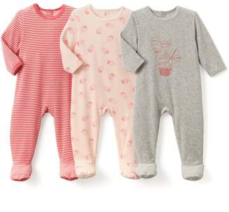 La Redoute COLLECTIONS Pack of 3 Velour Cupcake Print Sleepsuits, Birth-3 Years