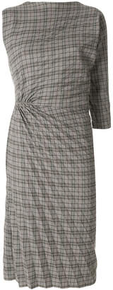 A.F.Vandevorst checked pleated detail dress