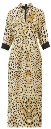 Prada Leopard Print Cut Out Sable Midi Dress - Womens - Leopard