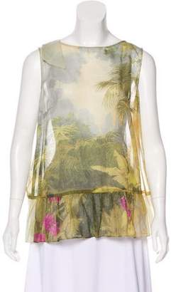 RED Valentino Peplum Jungle Print Top