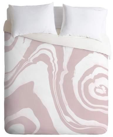 Pink Susanne Kasielke Marble Structure Duvet Cover