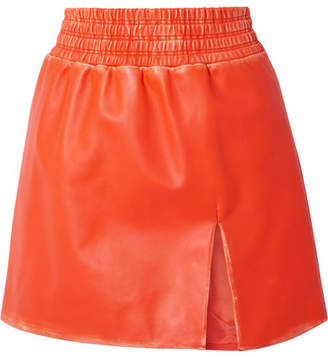 Miu Miu Distressed Leather Mini Skirt - Bright orange