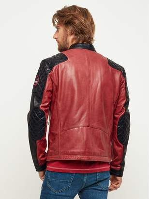 Red Badged Leather Biker