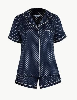 Marks and Spencer Satin Polka Dot Short Pyjama Set