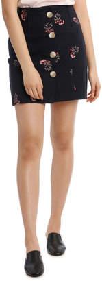 Miss Shop Button Front Mini Skirt - Vintage Ditsy